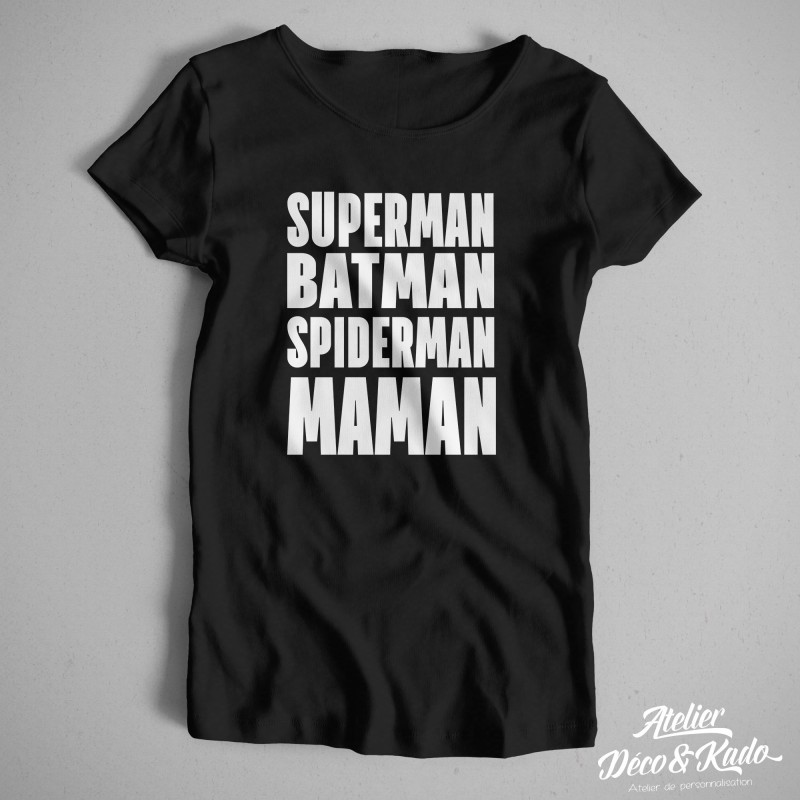 T-shirt femme Superman Batman Spiderman Maman