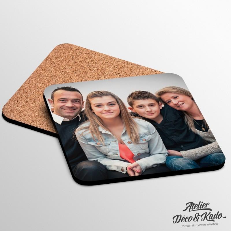 Dessous de verre photo carré en bois à personnaliser