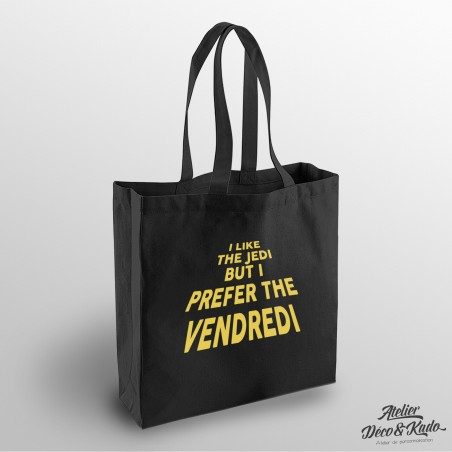 Sac shopping I like the jedi but i prefer the vendredi Tote bag en coton certifié commerce équitable