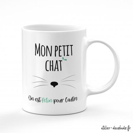 Le mug céramique Mon petit chat, on est félin pour l'autre