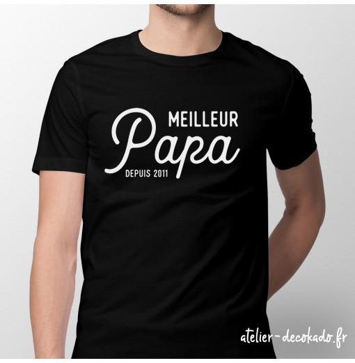 T-shirt Meilleur papa depuis - personnalisé - couleur noire