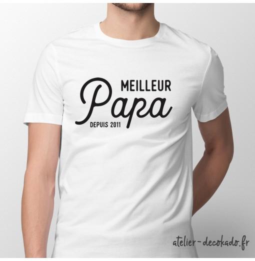 T-shirt Meilleur papa depuis - personnalisé - couleur blanche