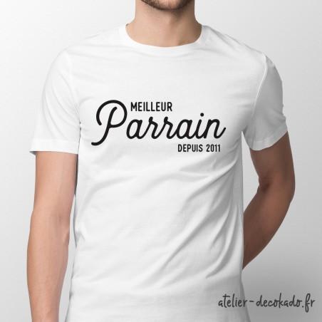 T-shirt Meilleur parrain depuis XXXX- personnalisé - couleur blanche
