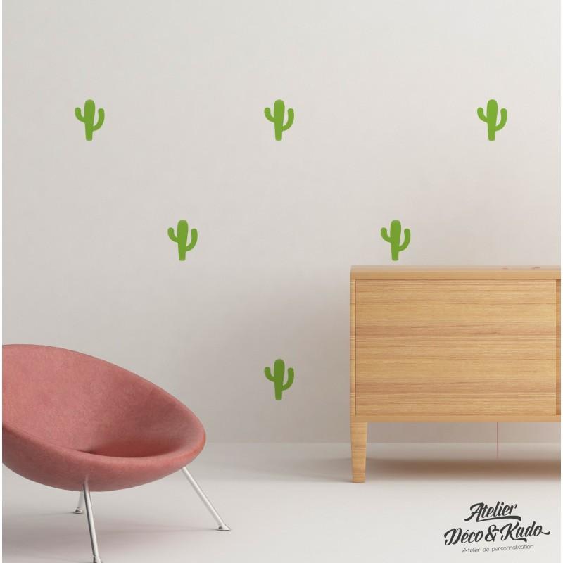 Kit de Stickers Muraux cactus couleur au choix